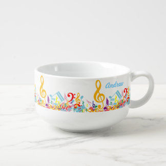 Personalized Colorful Musical Notes Soup Mug
