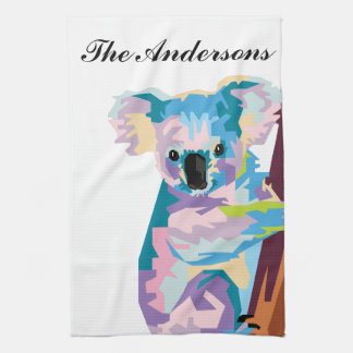 Personalized Colorful Pop Art Koala Kitchen Towel
