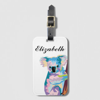 Personalized Colorful Pop Art Koala Luggage Tag
