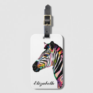 Personalized Colorful Pop Art Zebra Luggage Tag
