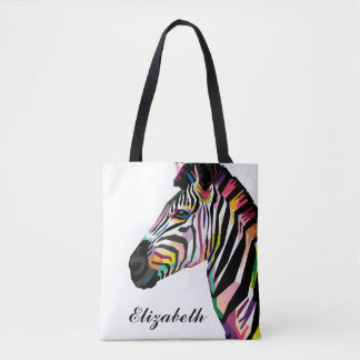 Personalized Colorful Pop Art Zebra Tote Bag