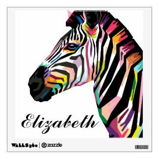 Personalized Colorful Pop Art Zebra Wall Sticker