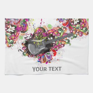 Personalized Colorful retro music guitar towel