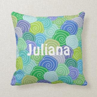 Personalized Colorful Seashell Swirls Pillow