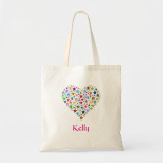 Personalized Colorful Stars Heart Shape Tote Bag
