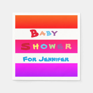 Personalized colorful stripes Baby Shower Napkins Disposable Napkins