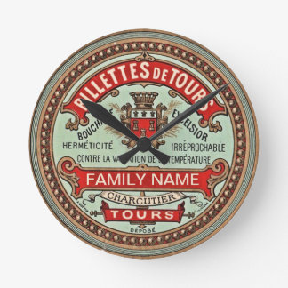 Personalized Colorful Vintage Apothecary Label Round Clock