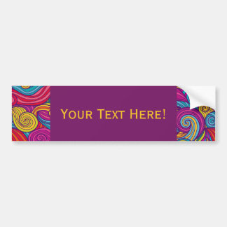 Personalized Colorful Wavy Stripe Swirls Pattern Bumper Sticker