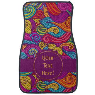 Personalized Colorful Wavy Stripe Swirls Pattern Car Floor Carpet