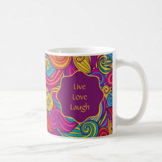 Personalized Colorful Wavy Stripe Swirls Pattern Coffee Mug