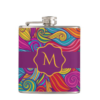 Personalized Colorful Wavy Stripe Swirls Pattern Hip Flask