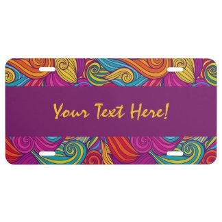 Personalized Colorful Wavy Stripe Swirls Pattern License Plate
