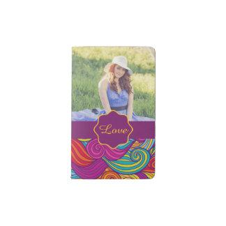 Personalized Colorful Wavy Stripe Swirls Pattern Pocket Moleskine Notebook