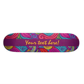 Personalized Colorful Wavy Stripe Swirls Pattern Skate Board Deck