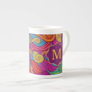 Personalized Colorful Wavy Stripe Swirls Pattern Tea Cup