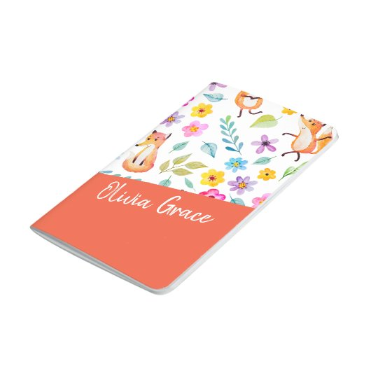 Personalized Colourful Fox Pattern Orange Journal