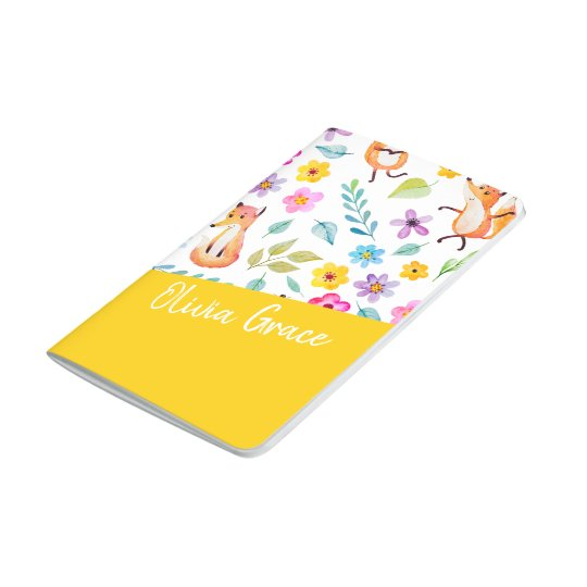 Personalized Colourful Fox Pattern Yellow Journal