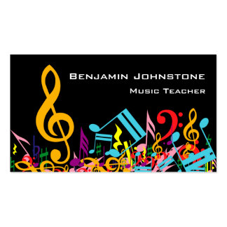 Personalized Colourful Jumbled Music Notes on Pack Of Standard Business Cards