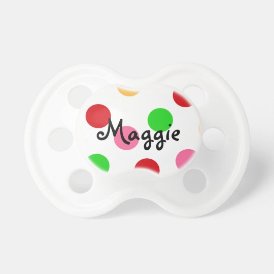 Personalized Colourful Polka Dot Pattern Pacifier