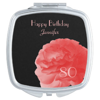 Personalized Compact Mirror Coral Rose 80th Bday