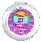 Personalized Compact Mirror Girls Softball Gifts