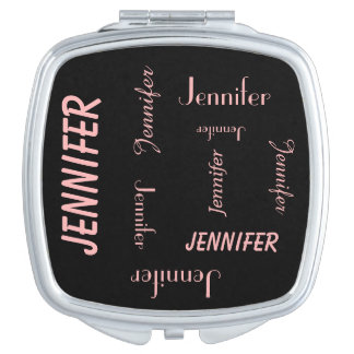 Personalized Compact Mirror, Name Repeats, Coral Vanity Mirrors