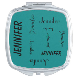 Personalized Compact Mirror Name Repeats Turquoise