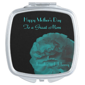 Personalized Compact Mirror Teal Rose Mothers Day