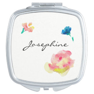 Personalized compact with name, flower paintings mirror for makeup