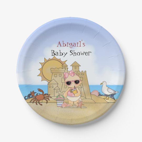 Personalized Cool Beach Baby Shower Plates ~ Girls 7 Inch Paper Plate