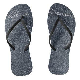 Personalized Cool Blue Denim Flip Flops