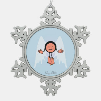 Personalized Cool Calm Angel Snowflake Pewter Christmas Ornament
