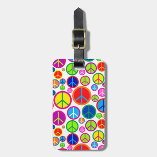 Personalized Cool Colorful Groovy Peace Symbols Luggage Tag