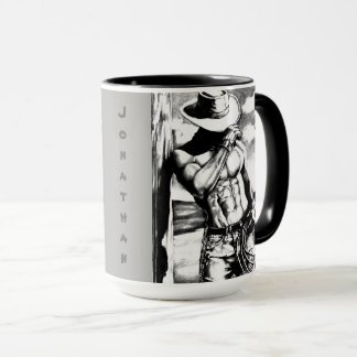 "Personalized ""Cool Cowboy Drawing"" Coffee Tea Mugs"