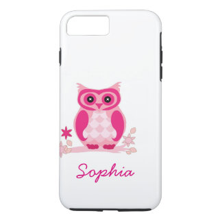 Personalized Cool Cute Unique Groovy Pink Owl iPhone 8 Plus/7 Plus Case