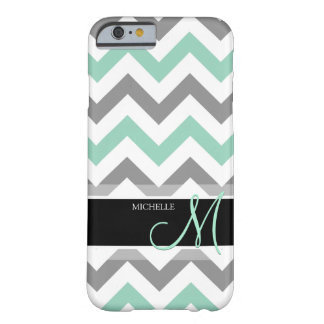 Personalized Cool Mint and Gray Chevron pattern Barely There iPhone 6 Case
