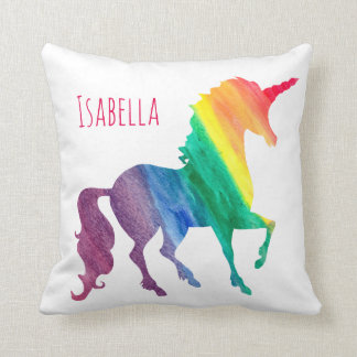 Personalized Cool Rainbow Unicorn Watercolor Girly Throw Pillow