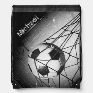 Personalized Cool Vintage Grunge Football in Goal Drawstring Bag