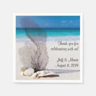 Personalized Coral Beach Wedding Paper Napkins