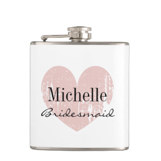 Personalized coral heart hip flask for bridesmaid