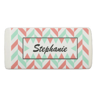 Personalized Coral Pink and Mint Green Herringbone Eraser