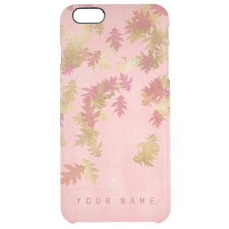 Personalized Coral Pink Golden Leafs Glam Clear iPhone 6 Plus Case