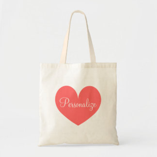 Personalized coral pink love heart design tote bag