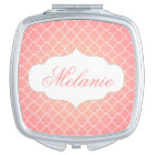 Personalized Coral Pink Quatrefoil Pattern Mirror For Makeup