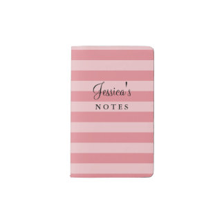 Personalized coral pink striped Moleskine notebook