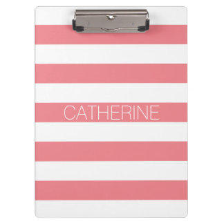 Personalized coral pink & white bold stripe modern clipboard