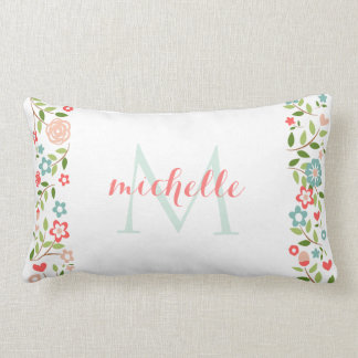 Personalized Coral Teal Floral Monogram Pattern Lumbar Pillow