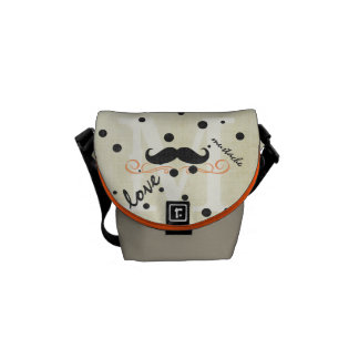 Personalized Coral Vintage Modern Mustache Commuter Bag