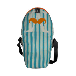 Personalized Coral Vintage Modern Mustache Commuter Bags