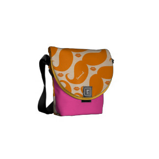 Personalized Coral Vintage Modern Mustache  Lips Commuter Bags